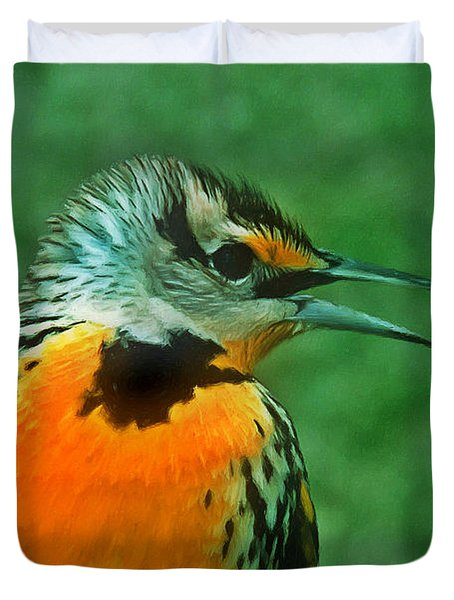 Kingfisher  Sitting On It's Perch Duvet Cover by Lanjee Chee