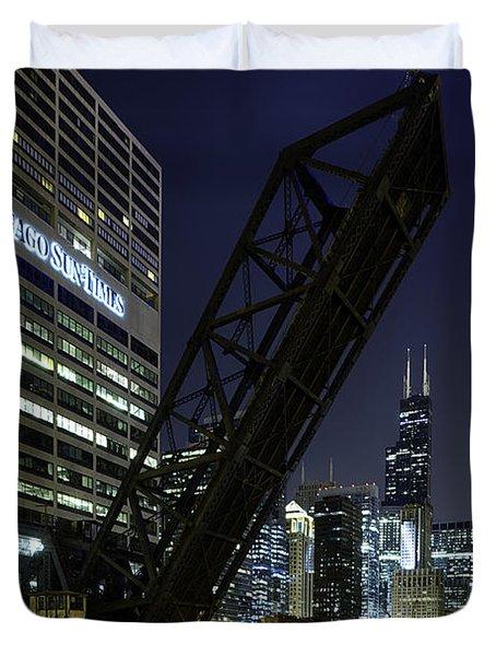 Kinzie Street Railroad Bridge At Night Duvet Cover by Sebastian Musial