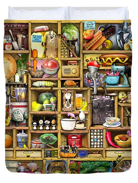 Kitchen Cupboard Duvet Cover by Colin Thompson