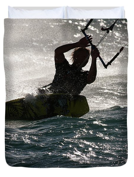 Kite Surfer 02 Duvet Cover by Rick Piper Photography