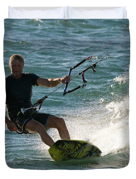 Kite Surfer 05 Duvet Cover by Rick Piper Photography