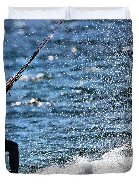 Kite Surfing Splash Duvet Cover by Dan Sproul