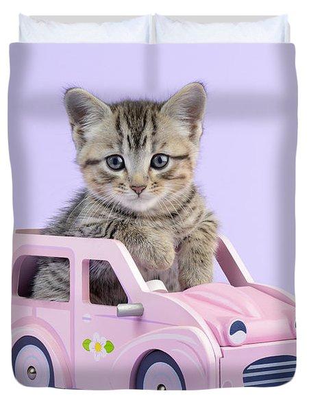 Kitten In Pink Car  Duvet Cover by Greg Cuddiford