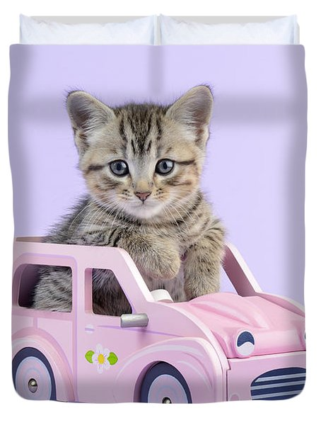 Kitten in Pink Car  Duvet Cover by Greg Cuddiford