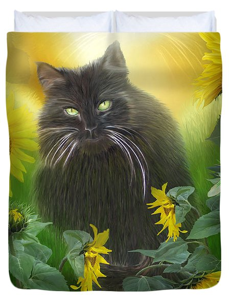 Kitty In The Sunflowers Duvet Cover by Carol Cavalaris
