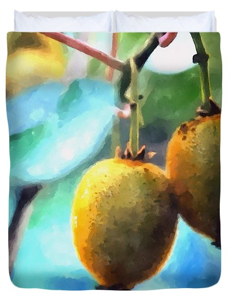 Kiwi Fruit Ripening On A Tree Duvet Cover by Lanjee Chee