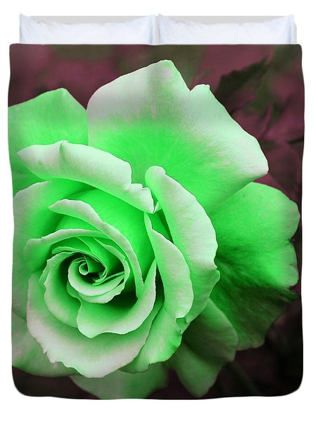 Kiwi Lime Rose Duvet Cover by Barbara Griffin