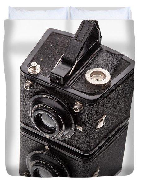 Kodak Brownie Film Camera Mirror Image Duvet Cover by Edward Fielding