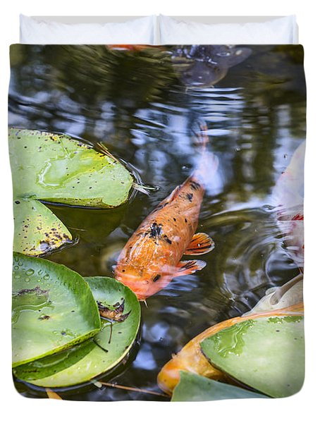 Koi And Lily Pad Duvet Cover by Jamie Pham