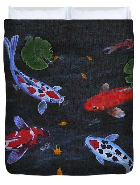 Koi Fishes Original Acrylic Painting Duvet Cover by Georgeta  Blanaru