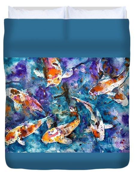Koi Impression Duvet Cover by Zaira Dzhaubaeva