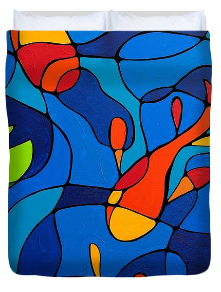 Koi Joi - Blue And Red Fish Print Duvet Cover by Sharon Cummings