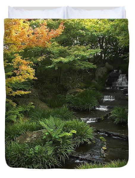 KOKOEN GARDEN WATERFALL - HIMEJI JAPAN Duvet Cover by Daniel Hagerman
