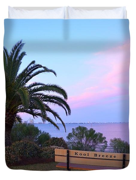 Kool Breeze Bench At Sunrise Duvet Cover by Jeff at JSJ Photography