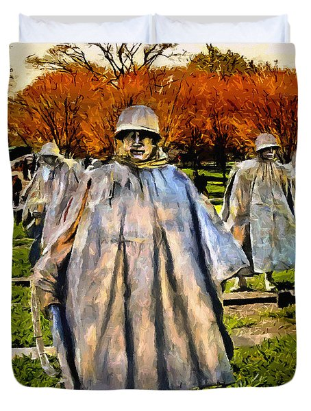 Korean War Veterans Memorial Sunset Duvet Cover by Bob and Nadine ...