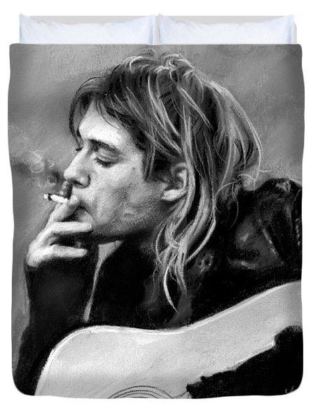 Kurt Cobain Guitar  Duvet Cover by Viola El