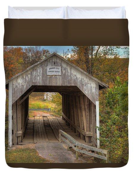Ky Hillsboro Or Grange City Covered Bridge Duvet Cover by Jack R Perry