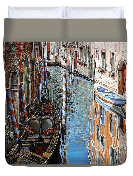 La Barca Al Sole Duvet Cover by Guido Borelli