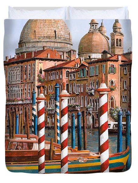 la chiesa della salute sul canal grande Duvet Cover by Guido Borelli