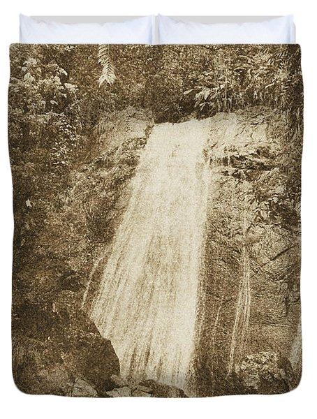La Coca Falls El Yunque National Rainforest Puerto Rico Print Vintage Duvet Cover by Shawn O'Brien