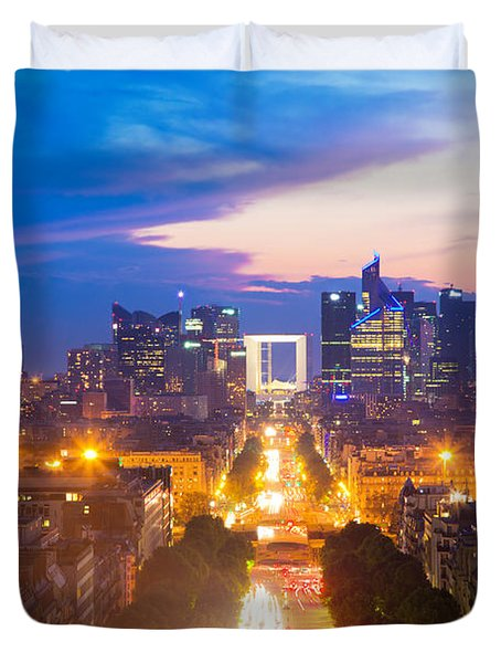 La Defense And Champs Elysees At Sunset In Paris France Duvet Cover by Michal Bednarek