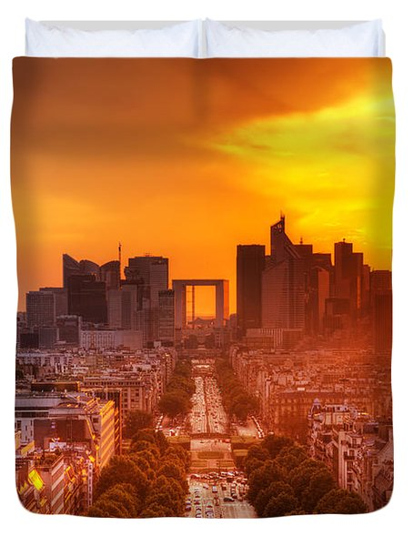 La Defense and Champs Elysees at sunset Duvet Cover by Michal Bednarek
