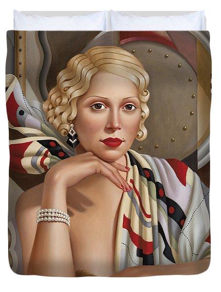 La Femmeen Soiehi  Duvet Cover by Catherine Abel