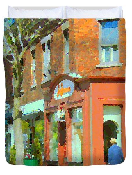 La Hacienda Resto Rue De L'epee Et Van Horne Outremont Montreal Spring City Scene Carole Spandau Duvet Cover by Carole Spandau