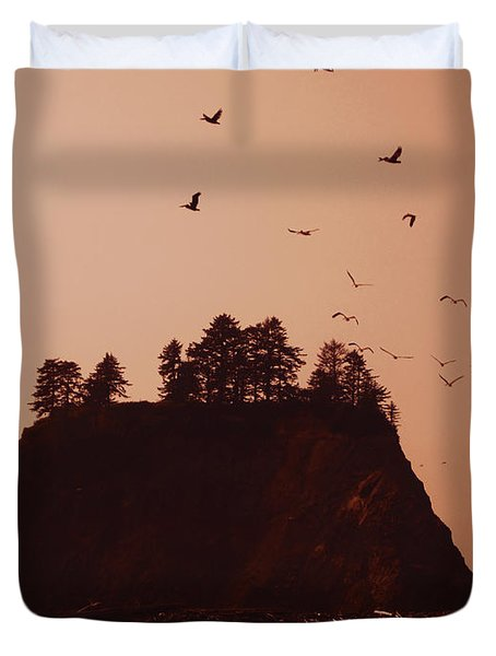 La Push Silhouette With Birds Duvet Cover by Kym Backland