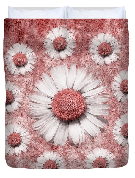 La Ronde Des Marguerites - Pink 02 Duvet Cover by Variance Collections
