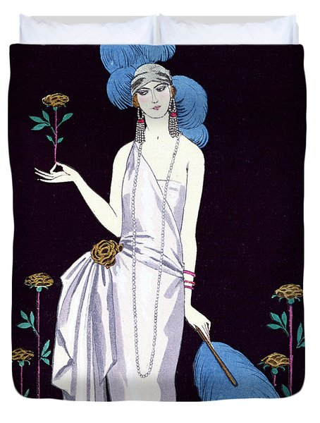 'la Roseraie' Fashion Design For An Evening Dress By The House Of Worth Duvet Cover by Georges Barbier