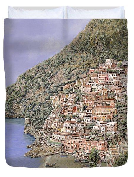 la spiaggia di Positano Duvet Cover by Guido Borelli