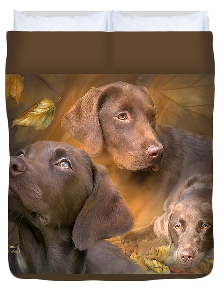 Lab In Autumn Duvet Cover by Carol Cavalaris