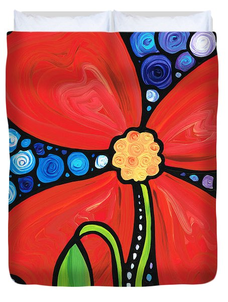 Lady In Red 2 - Buy Poppy Prints Online Duvet Cover by Sharon Cummings