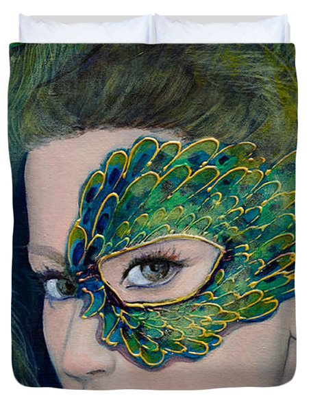 Lady Peacock Duvet Cover by Dorina  Costras