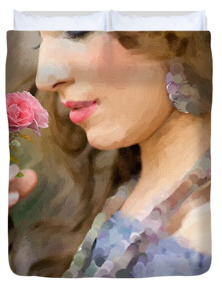 Lady With Pink Rose Duvet Cover by Angela A Stanton