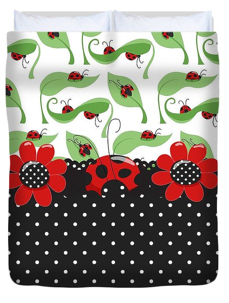Ladybug Flower Power Duvet Cover by Debra  Miller