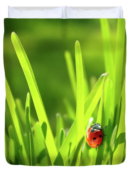 Ladybug In Grass Duvet Cover by Carlos Caetano