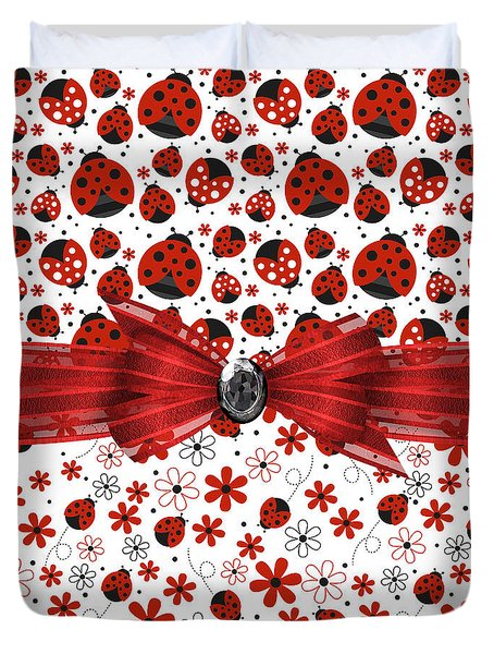 Ladybug Magic Duvet Cover by Debra  Miller