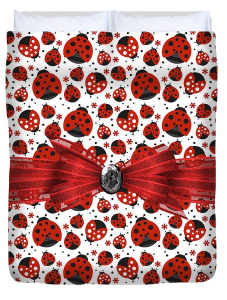 Ladybug Obsession  Duvet Cover by Debra  Miller