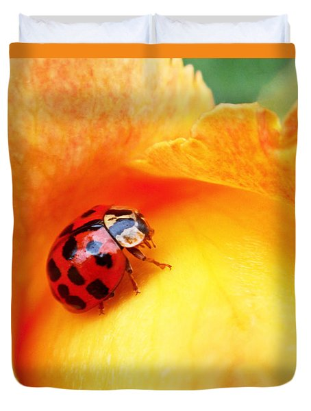 Ladybug Duvet Cover by Rona Black