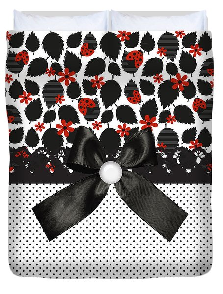 Ladybugs Leaves  Duvet Cover by Debra  Miller