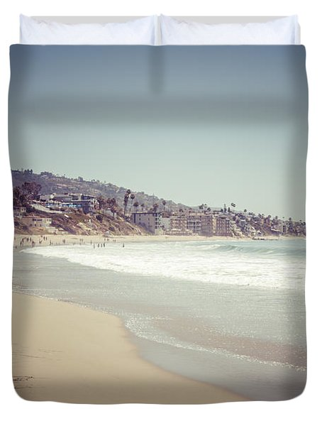 Laguna Beach Retro Picture Duvet Cover by Paul Velgos