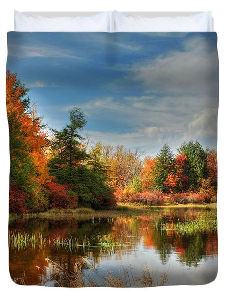 Lake Jean Reflections Duvet Cover by Lori Deiter