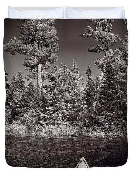 Lake Kayaking BW Duvet Cover by Steve Gadomski