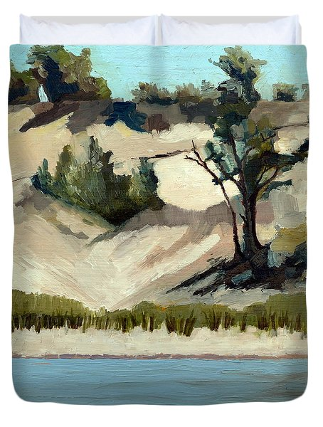 Lake Michigan Dune With Trees And Beach Grass Duvet Cover by Michelle Calkins