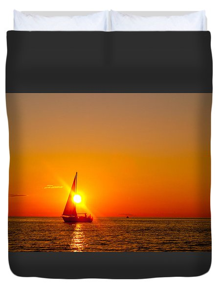 Lake Michigan Sunset Duvet Cover by Bill Gallagher