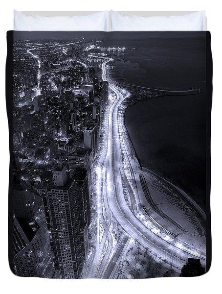 Lake Shore Drive Aerial  B And  W Duvet Cover by Steve Gadomski