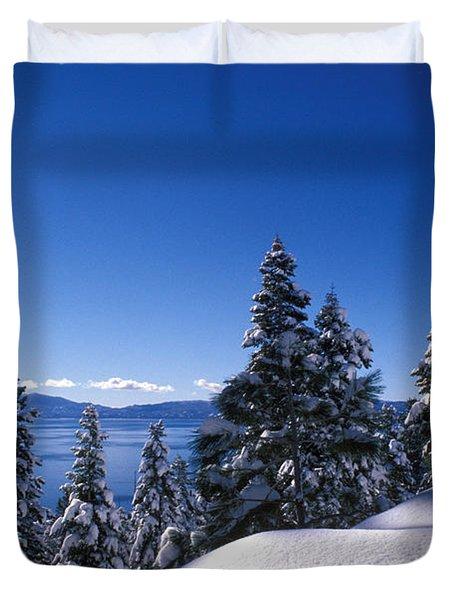 Lake Tahoe in Winter Duvet Cover by Kathy Yates