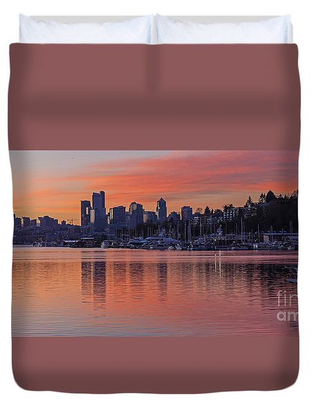 Lake Union Dawn Duvet Cover by Mike Reid